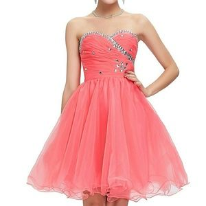 Grace Karin Dresses & Skirts - FINAL~ WATERMELON RED CORSET SHORT FORMAL DRESS