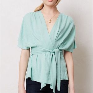 Anthropologie Tops - Moth Mint Green Lightweight Kimono Wrap Sweater