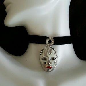 Maya Jewelry - Swarovski crystal mask white blk velvet choker