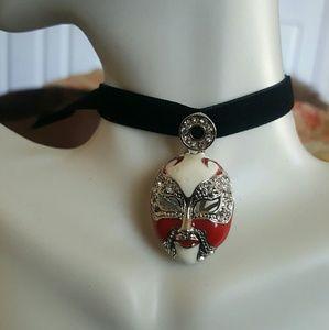 Maya Jewelry - Swarvoski crystal red mask velvet black choker