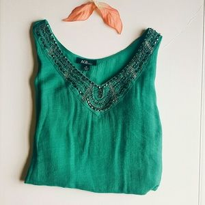 AGB Tops - ☆SALE☆|AGB| Teal Green Blouse With Bead Detail