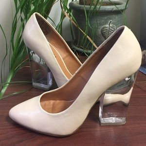Nasty Gal Nude Clear Heel Pumps