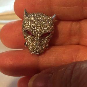 Jewelry - 14k White Gold Diamond Panther Slide/Charm