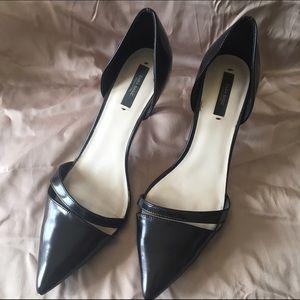 Zara Black leather court shoes sz 41