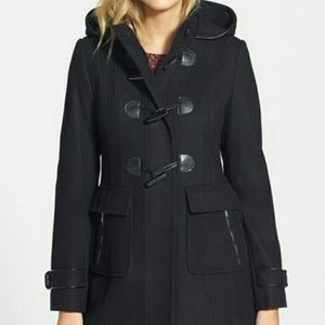 Laundry by Design Jackets & Blazers - LAUNDRY faux leather trim hooded toggle front coat