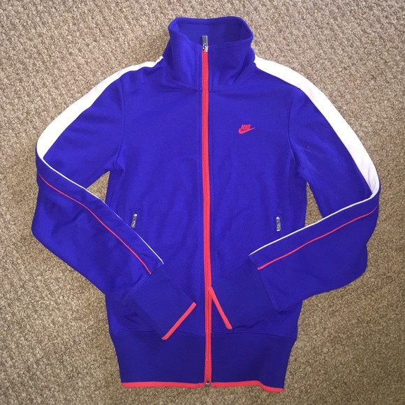 buy online 80ed3 d778a NIKE XS track Jacket Blue Stripe Coral Zip top. M 5899f5e69818297b1c0084e2