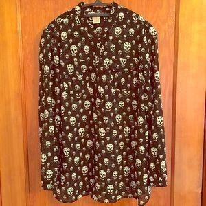 Tops - sheer gothic skull button up blouse MED NWOT