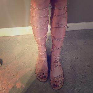 Zara Gladiator Tall Sandals Genuine Leather