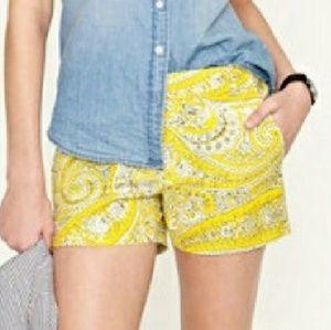 J.Crew Yellow Paisley Shorts Size 0