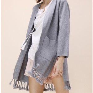 Chicwish Sweaters - Tassel Trimmed Cardigan in Grey