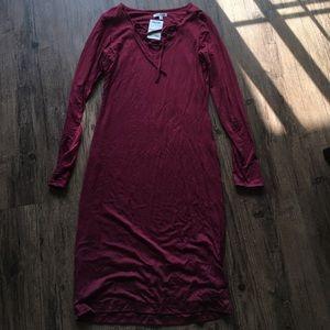 Velvet Torch Dresses & Skirts - Burgundy Lace Up Dress