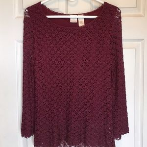 Emma James Tops - EMMA JAMES MAROON LACE TOP WITH LINER