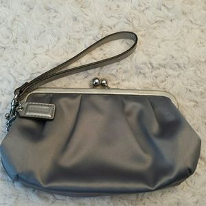 Coach  Handbags - Coach Gray Satin Wristlet