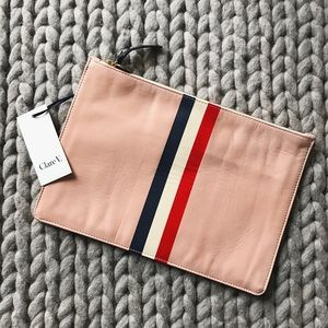 Clare Vivier Handbags - Clare V. Blush Nappa Leather Racing Stripe Clutch