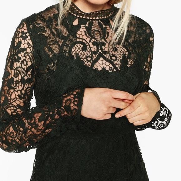 11d0b0f7 Zara Dresses | Long Sleeve Army Green Lace A Line Dress M | Poshmark