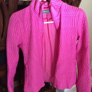 Colors of Benetton hot pink waffle jacket