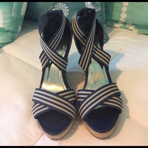 GUESS Navy & Tan Wedge Sandals