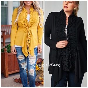 Vivacouture Sweaters - One Hour Sale 💋Plus Size Chic ruffle Cardigan