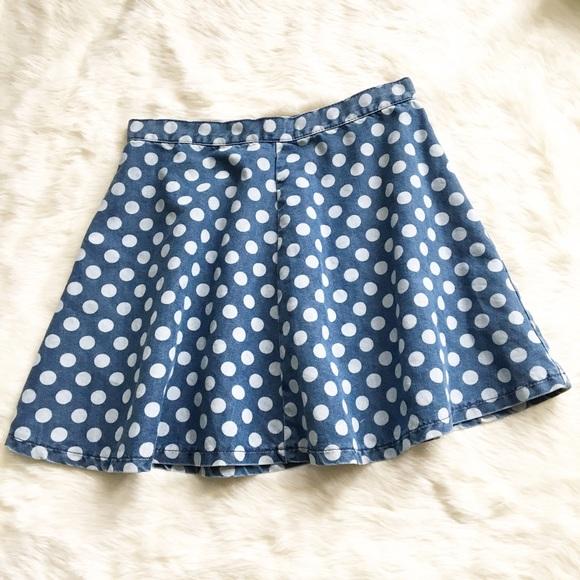 519b18401e TopShop Moto Polka Dot Denim Mini Skater Skirt. M_589a110df739bc852a019ca3