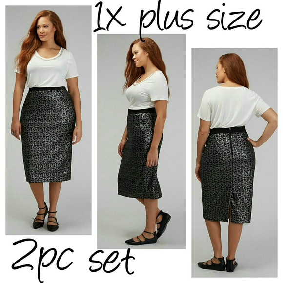 cdf674f8f06 2pc outfit 1x sequin midi pencil skirt chic XL