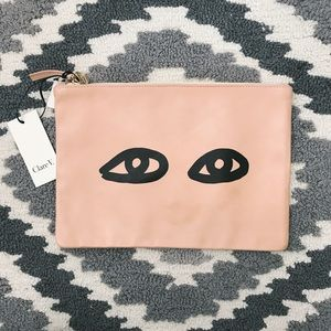 Clare Vivier Handbags - Clare V. Eyes Blush Nappa Lambskin Leather Clutch