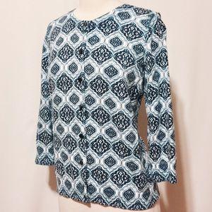 Talbots Sweaters - 💫 Talbots Navy & Turquoise Printed Cardigan