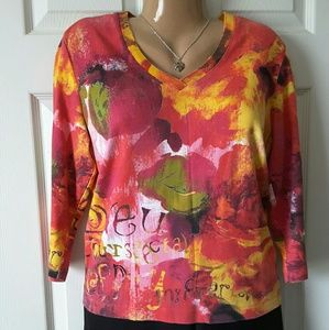 Chico's Tops - Chico's Colorful  3/4 Sleeve Graphic  T-shirt Sz M