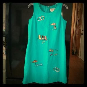 ⛵Embroidered Teal Summer Dress