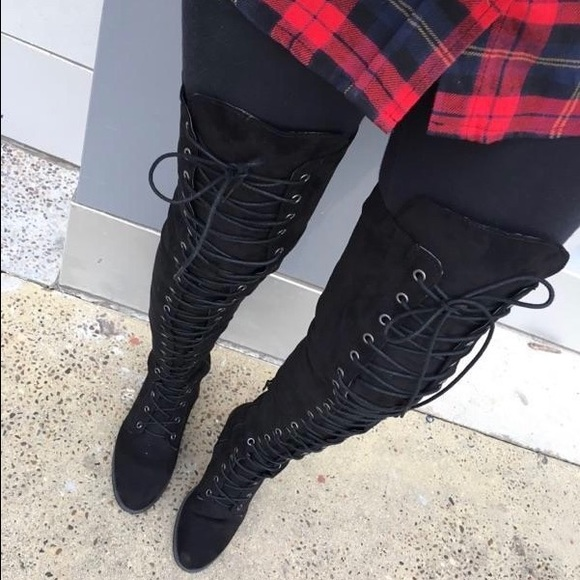Thigh High Suede Lace Up Boots