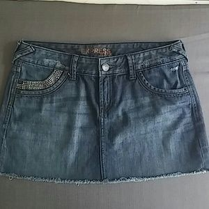 Express Sparkled mini blue denim skirt size 6