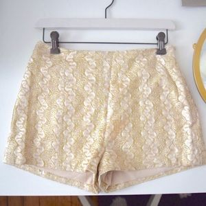 Love Culture Pants - Gold Sparkle High Waisted Shorts