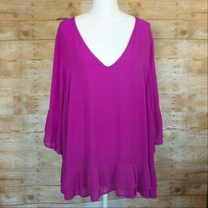 Lane Bryant magenta ruffled tunic