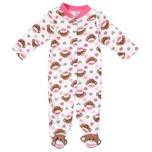 Baby Starters Other - Baby Starters Sock Monkey Footie Sleeper Pink NEW