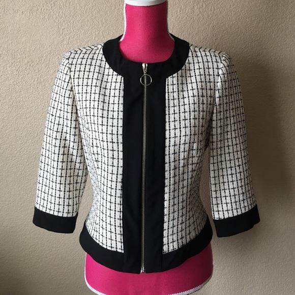 Trina Turk Jackets & Blazers - Trina Turk Check Tweed Blazer Jacket w/Black Trim