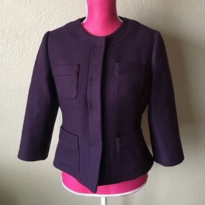 NWOT Milly Deep Purple Wool Blazer Jacket