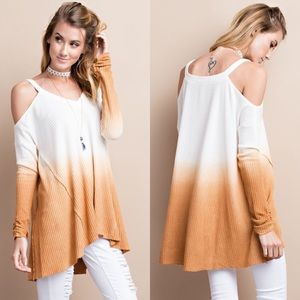 Tops - Long Sleeve Cold Shoulder Tunic- CINNAMON