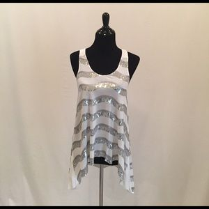 White and silver Sequin Embellished Tank Top Tunic