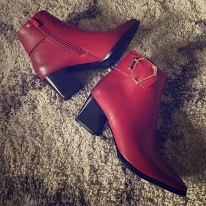 Brand new wine red ankle boots