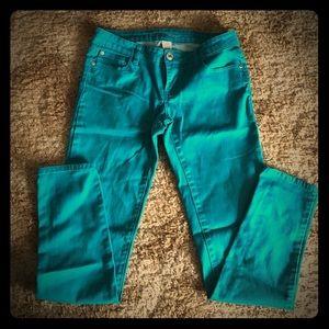 Turquoise Denim Skinny Pants
