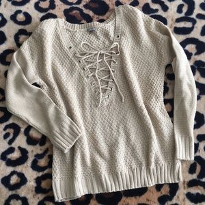 Charlotte Russe Cream Lace Up Sweater