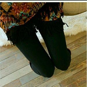 Black brush knit leggings