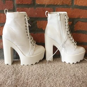 Breckelles Shoes - White Platform Boots