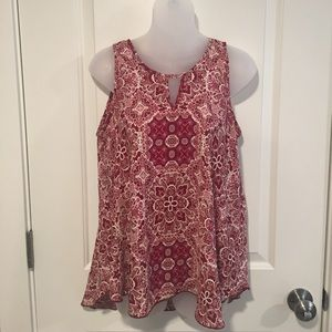 Evereve Tops - Red and cream patterned blouse