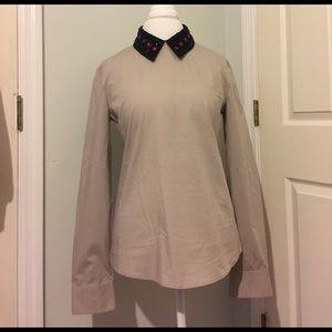 Jil Sander Tops - Jil Sander Navy beige blouse w/ embellished collar