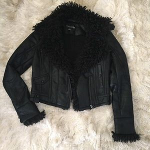 Forever 21 Jackets & Blazers - Black Vegan Leather & Faux Fur Moto Biker Jacket S