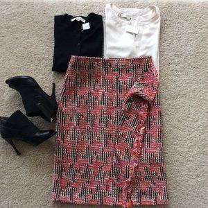 {Anthropologie} Fringe Tweed Skirt