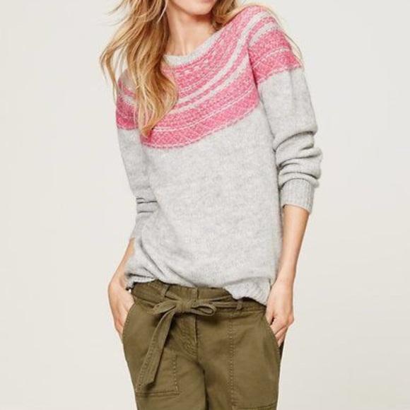 57% off LOFT Sweaters - AnnTaylor LOFT Gray Pink FairIsle Pullover ...