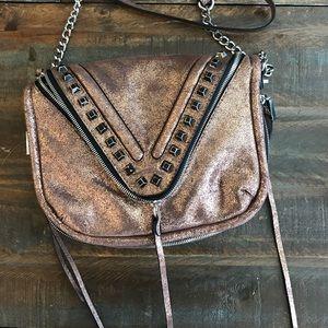 Rebecca Minkoff Handbags - Metallic Suede Rose Gold She + Lo Crossbody