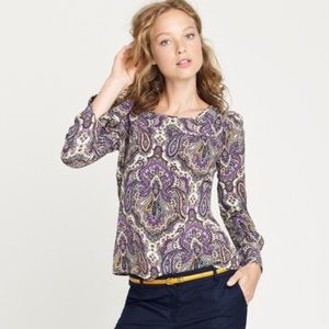 J. Crew Tops - ❌SOLD❌ J Crew Talitha Blouse in Purple Paisley