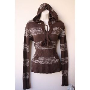 Brown sweater with hoodie